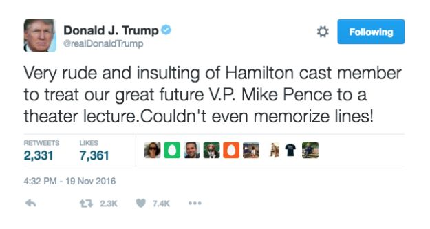 "Hours later, Trump continued to tweet about the incident calling it ""very rude and insulting."" He deleted the tweet minutes later."