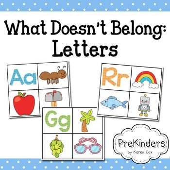 Children will practice letter sounds (phonological awareness) with this set of 26 cards - one card for every letter of the alphabet. Children will look at the cards and find the one that doesn't belong in the group. On each card, there is one letter with 2 pictures that have the same letter sound.
