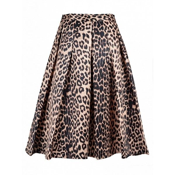 Choies Leopard Print Silky Midi Skater Skirt ($19) ❤ liked on Polyvore featuring skirts, choies, yellow, flared midi skirt, calf length skirts, leopard skater skirt, midi skirt et mid-calf skirt