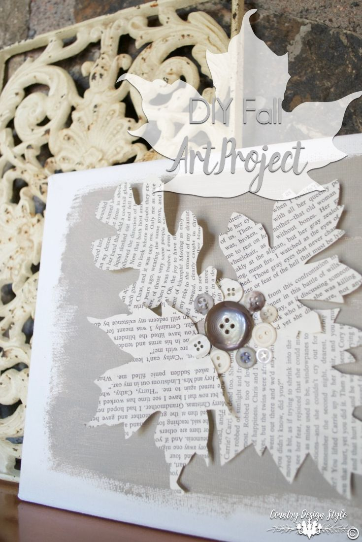 You will fall for this easy DIY autumn art project. Made with art canvas, book page leaves, craft paint and buttons    Country Design Style   http://countrydesignstyle.com