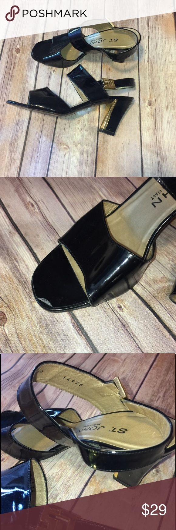 St John strappy patent high heel sandal With gold embellishments. Size 5.5 price reflects condition. Still lots of life left in these awesome heels! No scuff marks!!! St. John Shoes Heels