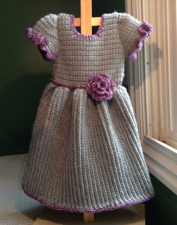 Gray Winter Baby Dress Crochet Pattern 6mo  3T by BlankeyDresses