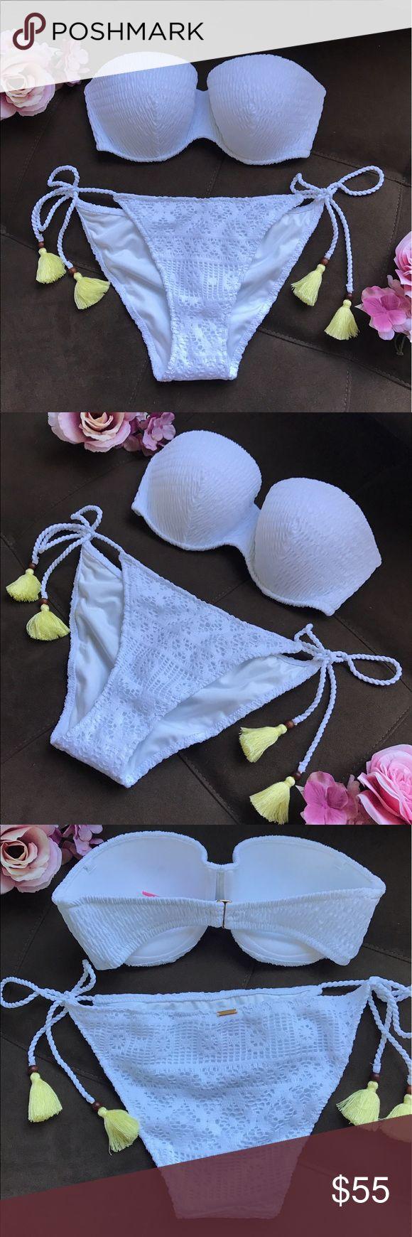Victoria's Secret White Tassel Swimsuit Victoria's Secret White Swimsuit with neon tassels. Top is size 32DD, bottoms are M. NWT, no trades. Only selling as a set. Victoria's Secret Swim Bikinis
