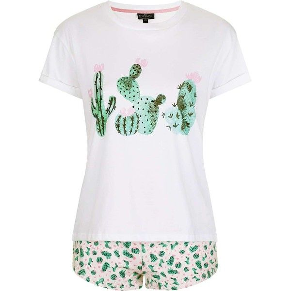 TopShop Petite Cactus Heart Pyjama Set ($29) ❤ liked on Polyvore featuring intimates, sleepwear, pajamas, petite pajamas, cotton sleepwear, cotton pajama set, petite sleepwear and petite pajama sets