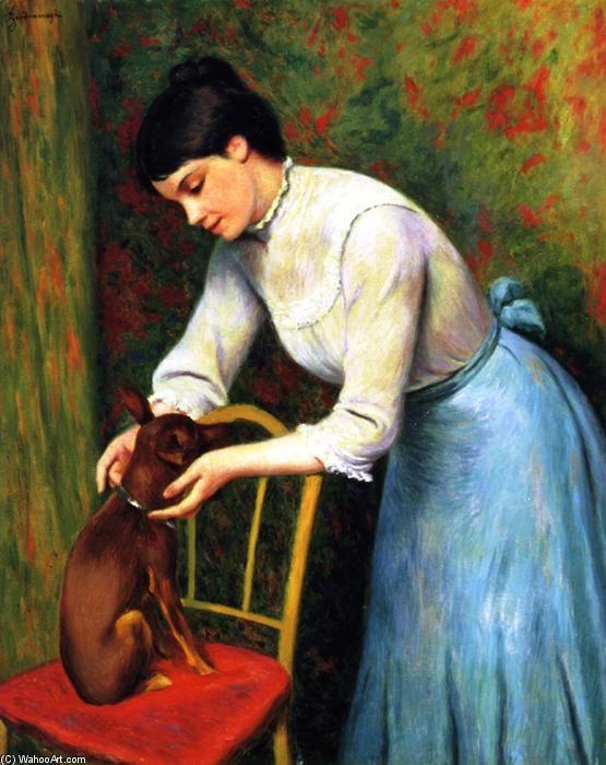 """""""Donna con cane"""", olio su tela di Federico Zandomeneghi (1841-1917, Italy)"""