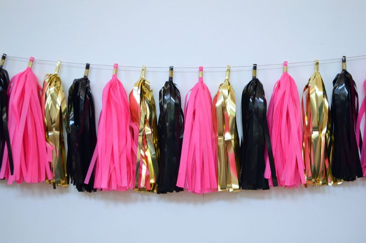 Black Gold and Hot Pink Tissue Tassel Garland - Midnight in Paris Decoration - Paris Themed Party Decor - Black Gold Pink Banner by tassellove on Etsy https://www.etsy.com/listing/226224806/black-gold-and-hot-pink-tissue-tassel