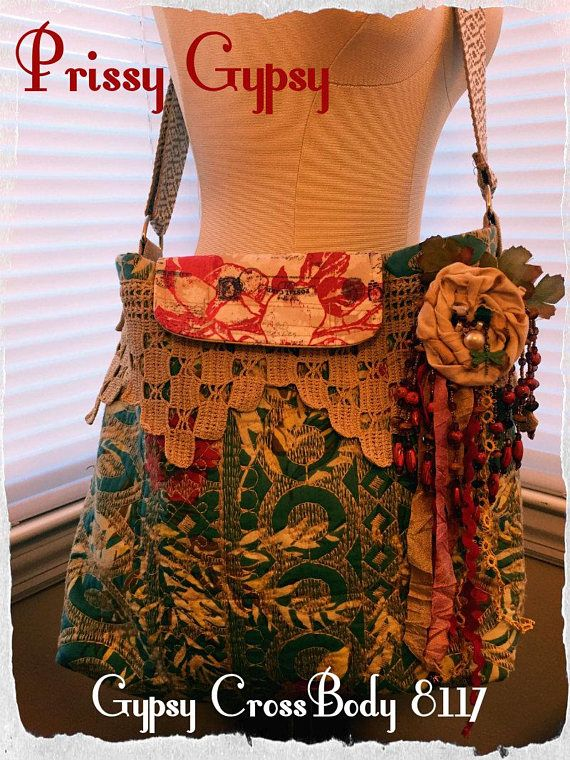 Prissy Gypsy - Boho Gypsy Cross-Body 8117 with Corsage -  Festival Ribbon Fringe, Tatted Lace, Beads, Charms, Hippie Gypsy Boho Bag Purse, Messenger Bag
