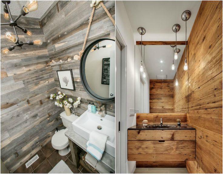 idée déco salle de bain bois de récupération et appareils d'éclairage de style industriel