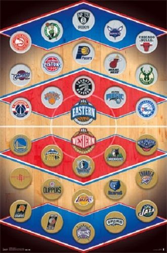 "NBA All in One Team Logo's poster 22.5 x 34"" Celtics Bulls Lakers Warriors Heat"