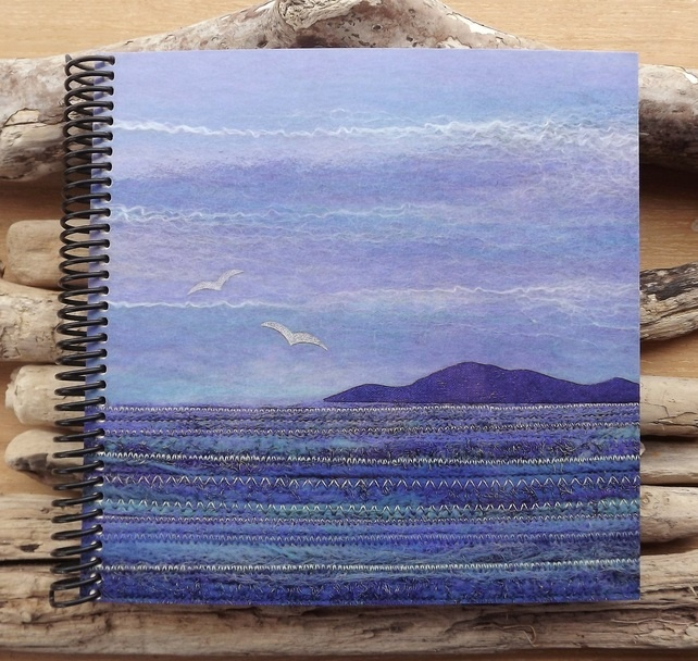 Sketchbook with Printed Cover Featuring a Textile Seascape Scene