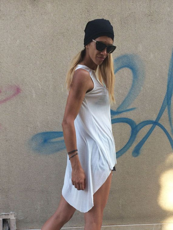 New Design White Loose Tank Top /  Soft Casual by Silvisport