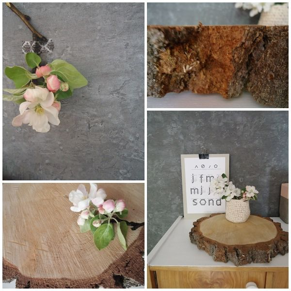 Kolaż z wykorzystaniem plastra drewna.