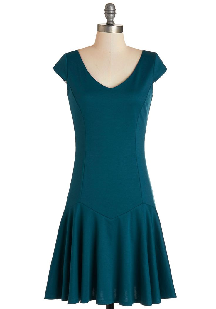Prose and Confidence Dress. You step up to the microphone and open your journal, proudly standing before the crowd in this teal, drop-waist dress. #blue #modcloth