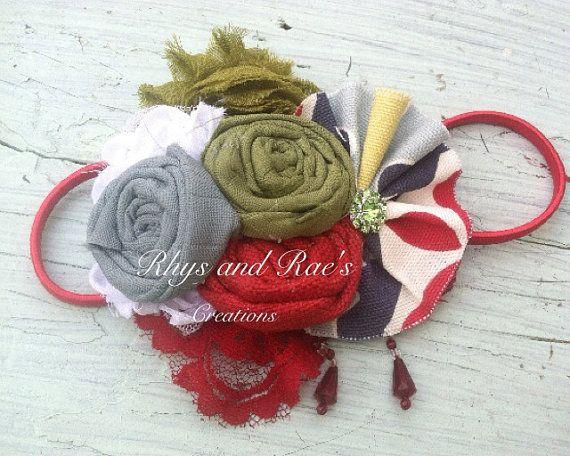 Red, Blue, Yellow. White, Teal, Fabric Flower Headband, Girls Headband. Women's Headband, Brooch, Hair Accessory, Rosette Fabric Flowers on Etsy, $16.00
