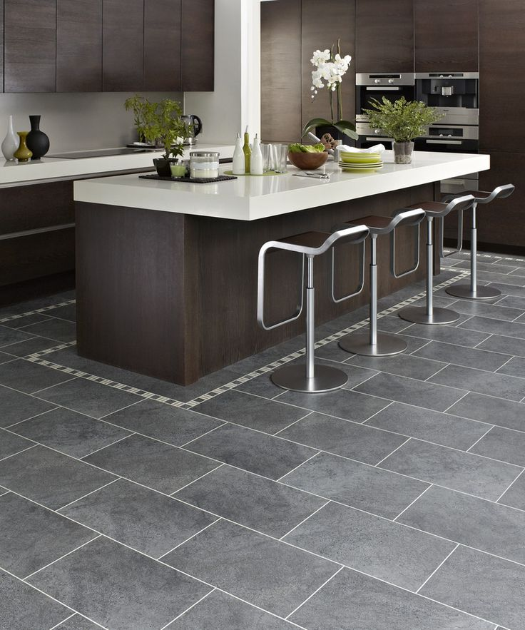 Black Vinyl Kitchen Flooring: Dark Brown Cabinets, Grey Tiles And