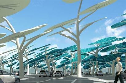 Electric vehicle gas station with photovoltaic panels