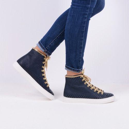Pantofi sport bleumarin din piele naturala Amyra