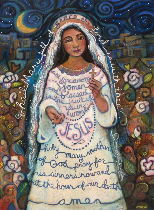 "Hail Mary, full of grace. The Lord is with thee. Blessed are you among women and Blessed is the fruit of your womb, Jesus. Holy Mary, mother of God Pray for us sinners now and at the hour of our death. Amen ""HailMary"" painting by Jen Norton. Prints & cell phone covers available for purchase at http://pixels.com/featured/hail-mary-jen-norton.html #firstcommunion #monthofmay #hailmary"