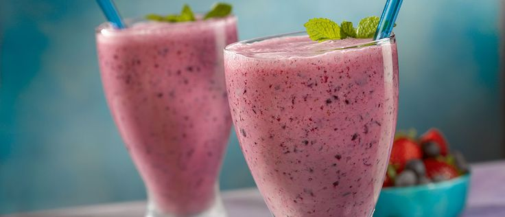 Frozen fruit, low-fat vanilla yogurt and V8 V-Fusion®Pomegranate Blueberry juice are blended together to create a nutritious and delicious smoothie. Great any time of day, each serving of this smoothie provides 1/2 serving of vegetables and 1 1/2 servings of fruit and is an excellent source of calcium and vitamin C.*