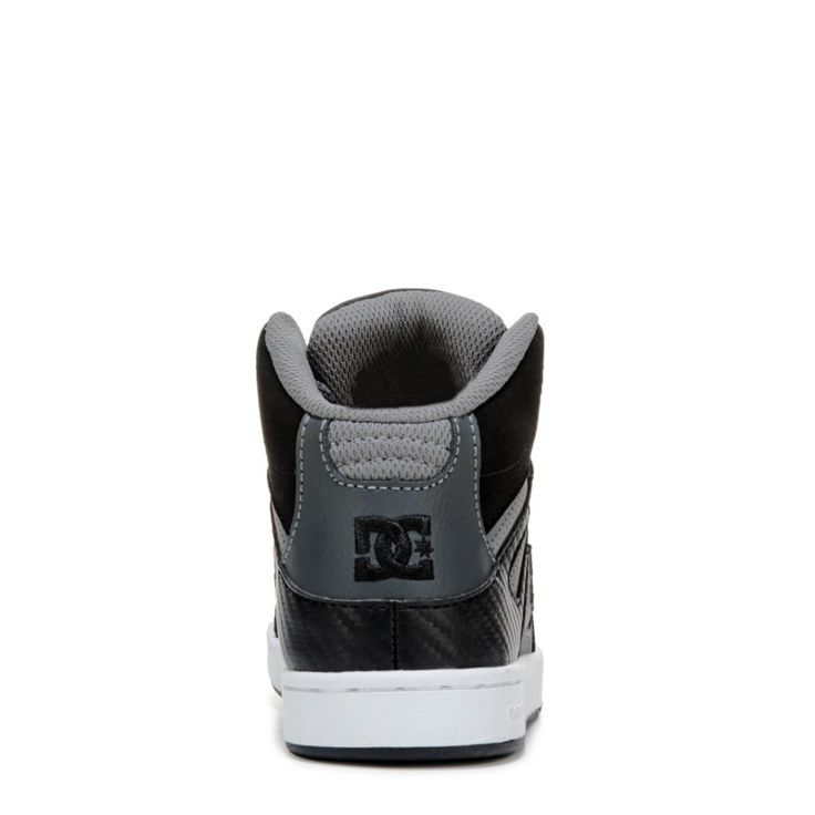 DC Shoes Kids' Rebound High Top Skate Shoe Pre/Grade School Shoes (Grey/Black Leather)