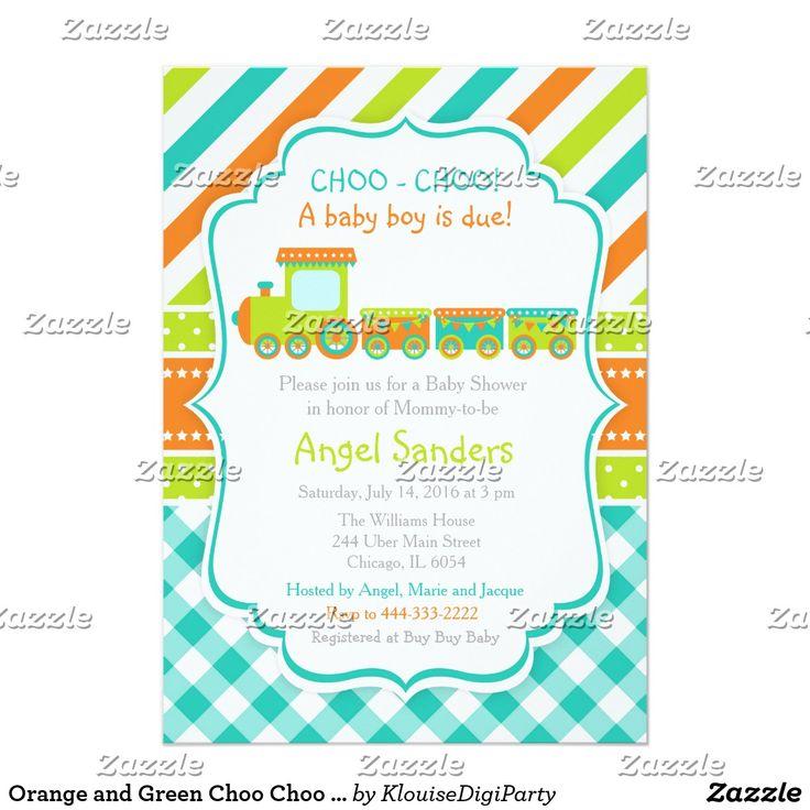 Orange and Green Choo Choo Train Baby Shower Card