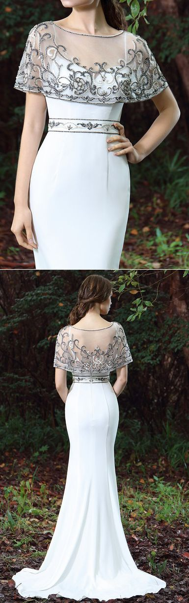 eDressit White Cape Embroidery Beaded Formal Dress