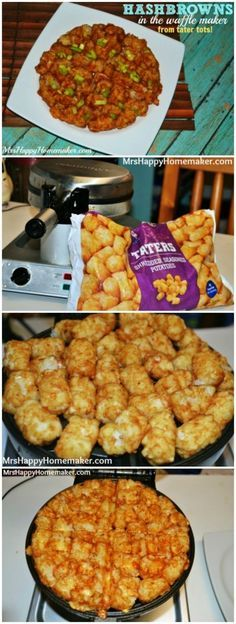 Make hash browns in the waffle cooker with tater tots, they are SO good! You can even do this with zucchini too!