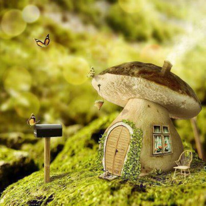 fairy home...: Miniatures Furniture, Dreams Houses, Fairies Gardens, Fairies Houses, Faeries Houses, Sweet Home, Houses Projects, Fairies Tales, Mushrooms Houses