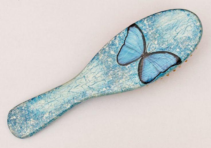 MAMTWORY: Błękitna szczotka z motylem / The blue hairbrush w...