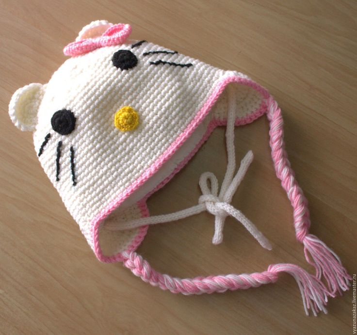 Купить Шапочка КИТТИ(из итальянской пряжи ) - комбинированный, шапка, шапочка вязаная, шапочка