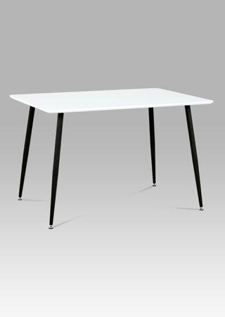 MDT-672 WT  Jídelní stůl 120x80 cm, bílý mat + nohy černý lak.