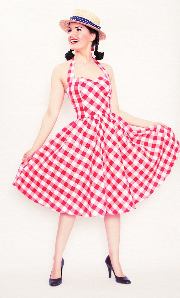 Belle Halter Dress in Red and White Gingham | bernie ...