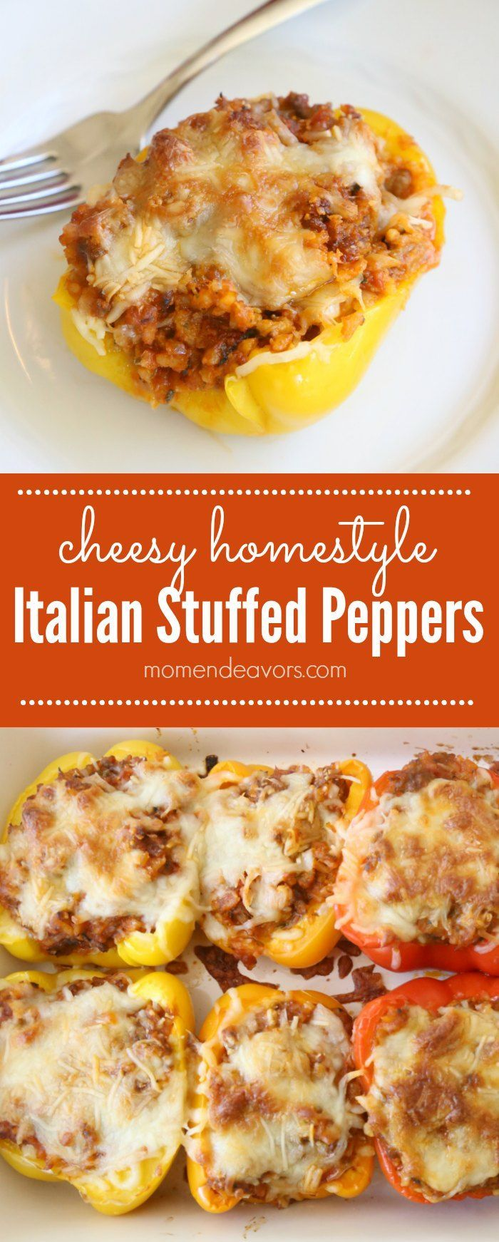 Cheesy Homestyle Italian Stuffed Peppers - this meal is full of veggies, gluten free, and tastes SO good! Sponsored by RAGÚ!
