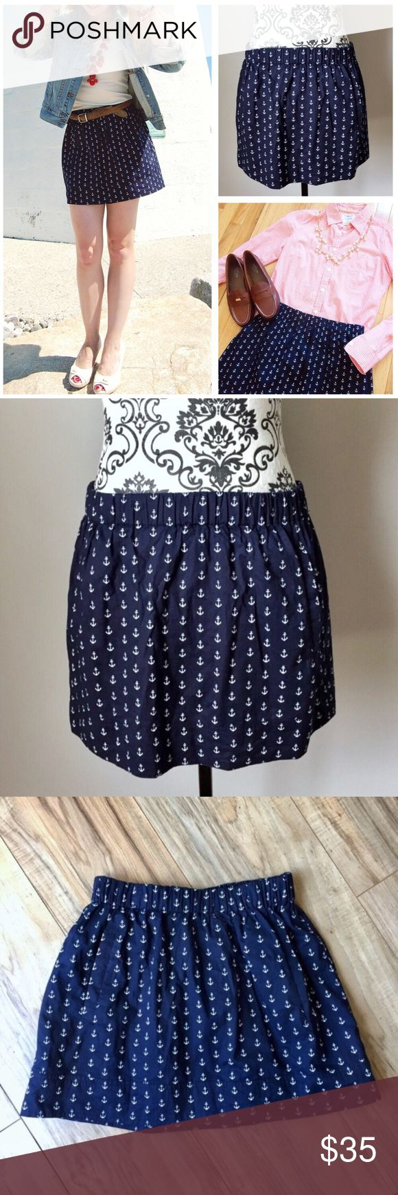 """J.Crew Factory navy white anchor skirt w/ pockets J. Crew Factory navy and white anchor skirt with POCKETS! Fully lined.  100% cotton.  ***Size XXS would fit up to a small as there is a ton of stretch in the elastic waistband*** Waistband laid flat without stretching is 12"""" and completely stretched is 18"""".  Length 13"""".  Adorable and fun little skirt that will transition great to fall! J. Crew Factory Skirts"""