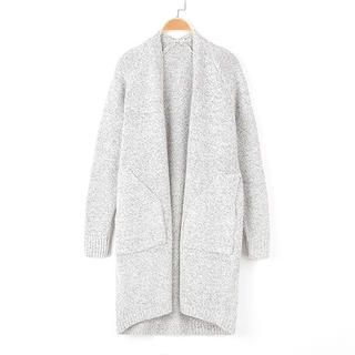 Gray Inclined Pockets Solid Color Long Sleeve Knit Cardigan For Women    $30.50