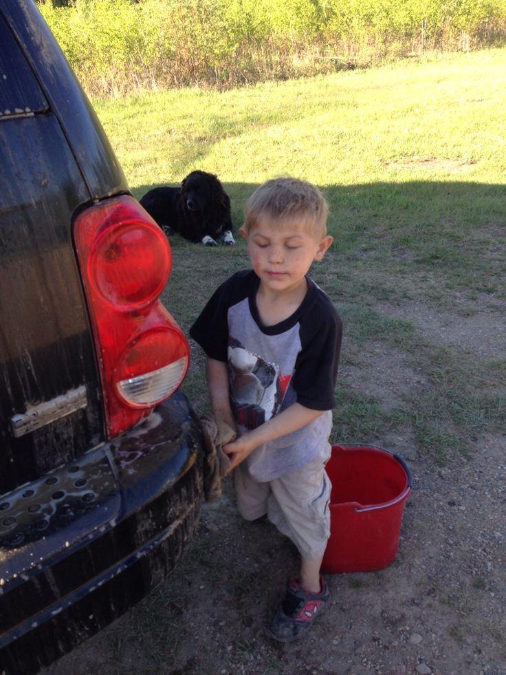 Baby washing my car