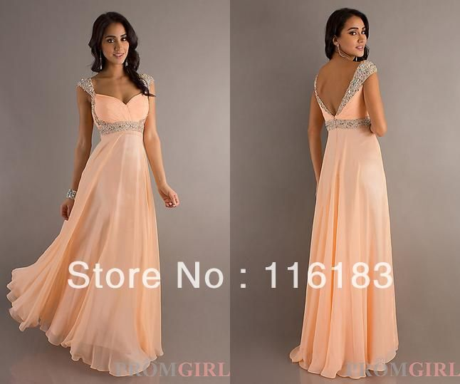 Hot 2013 Sales Chiffon Cap Sleeves Evening Formal Party Ball Prom Bridesmaid Pageant Dresses Custom Made 2 4 6 8 10 12 14 16+++ $58.00