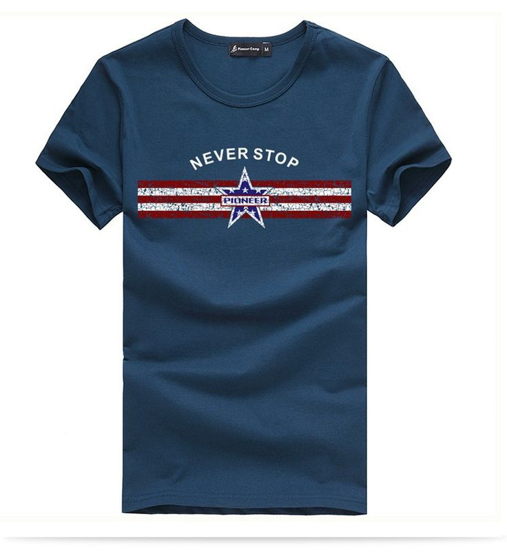 T Shirts : Pioneer Camp Men's Cotton T Shirt Blue