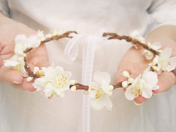 Flower Crown Bridal Headpiece Spring Blossoms by NoonOnTheMoon // #weddings #flowercrown #spring