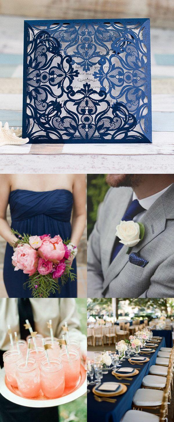 elegant navy blue and blush wedding ideas with laser cut wedding invitations