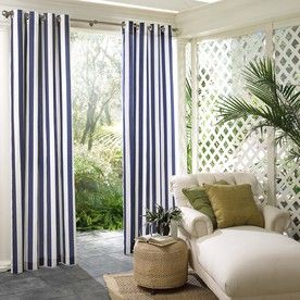 parasol 108in l navy circus stripe outdoor curtain panel