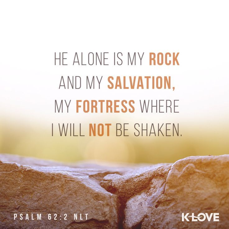 Encouraging Word: He alone is my rock and my salvation, my fortress where I will never be shaken. Psalm 62:2 NLT