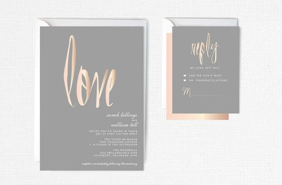 Rose Gold Wedding Invitation Rose Gold Foil Modern by P27Creative