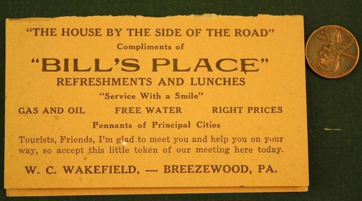 1930s Era Breezewood,Pennsylvania Lincoln Highway business card & mileage chart! | eBay