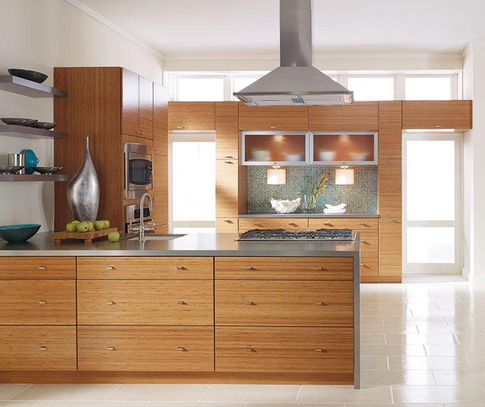 Jules Horizontal Bamboo Wafer Sometimes Less Is More The Clean Lines Of The Slab Doors Coupled Bamboo Kitchen Cabinets Kitchen Cabinet Styles Kitchen Design