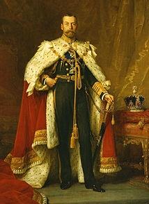 """George V, George Frederick Ernest Albert (1865-1910-1936)  Son of Edward VII (""""Bertie"""", Victoria's first child), grandson of Victoria"""
