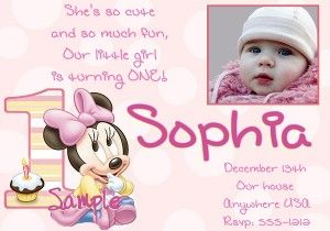1st-birthday-invitation-minnie-mouse - Messages, Wordings and Gift Ideas