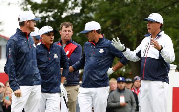 Phil Mickelson Photos Photos - Jimmy Walker, Rickie Fowler, Brooks Koepka and Phil Mickelson of the United States look on during practice prior to the 2016 Ryder Cup at Hazeltine National Golf Club on September 28, 2016 in Chaska, Minnesota. - 2016 Ryder Cup - Previews