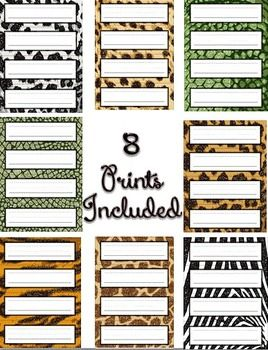 FREEBIE~Glitter Animal Print Nameplates / Nametags
