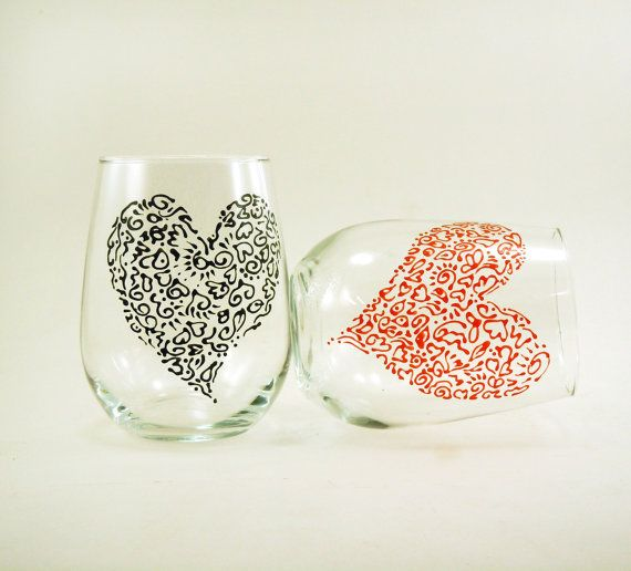 Valentine stemless wine glasses  Set of 2  by CreationsdeFlorence, $20.00